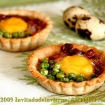 Tapa of quail eggs on buckwheat tartlets