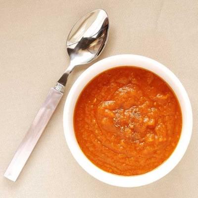 Crema de calabaza y tomate con ras el hanout