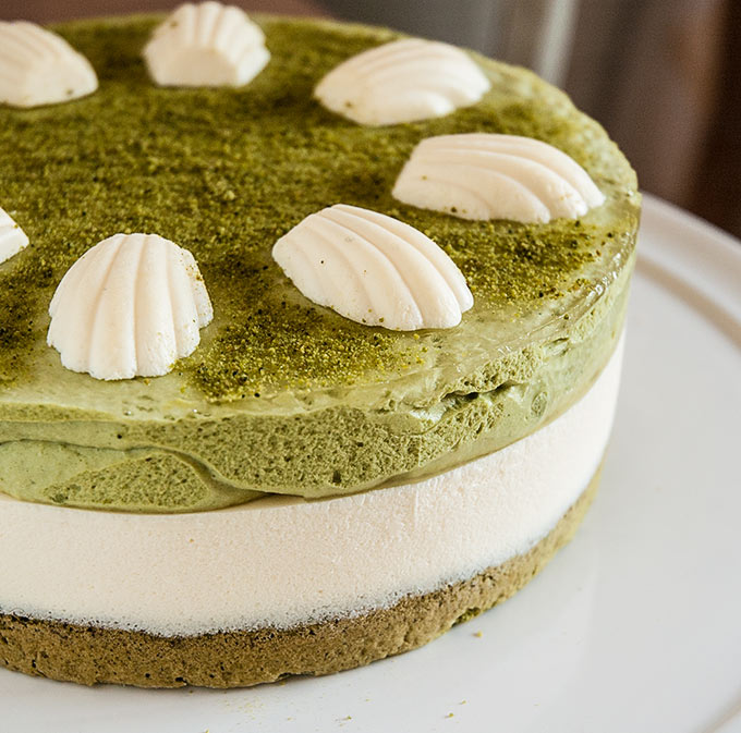 tarta de mascarpone y te matcha