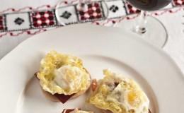 Tapa jamón huevo codorniz
