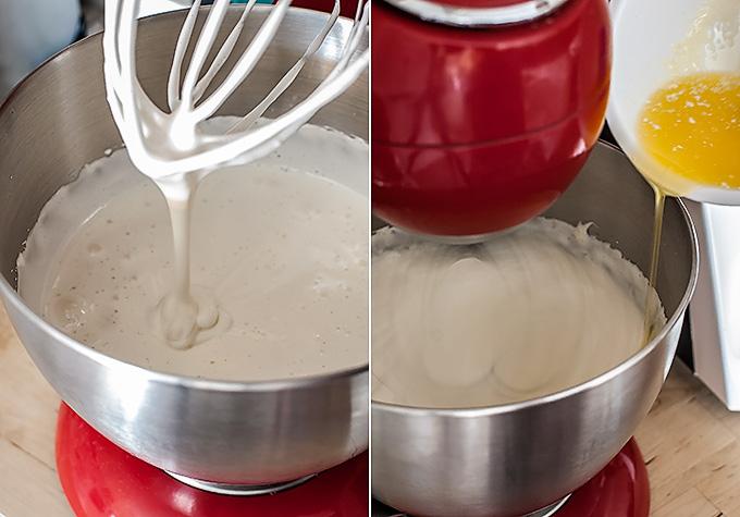 montado de la masa de magdalenas de nata