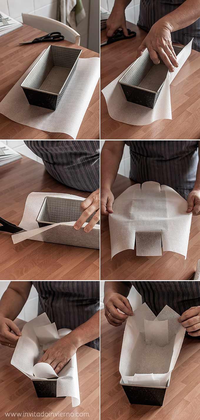 como forrar un molde rectangular con papel de hornear