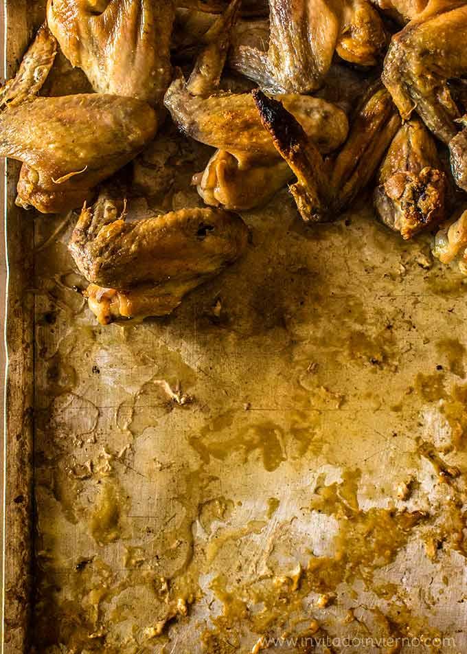 alitas de pollo al horno, detalle