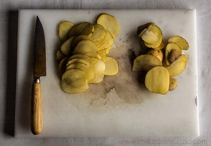 patatas chips al horno cortadas