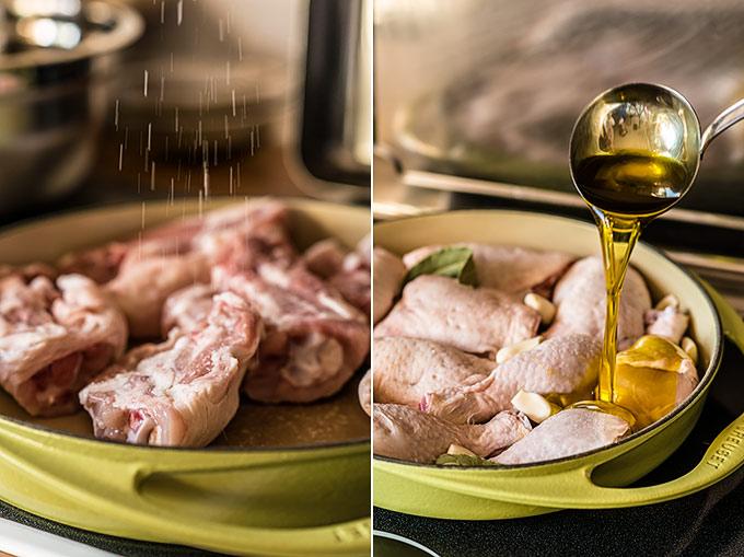 pollo confitado al ajillo paso a paso