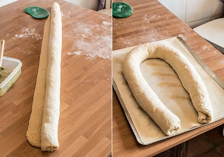 pan de pesto paso a paso