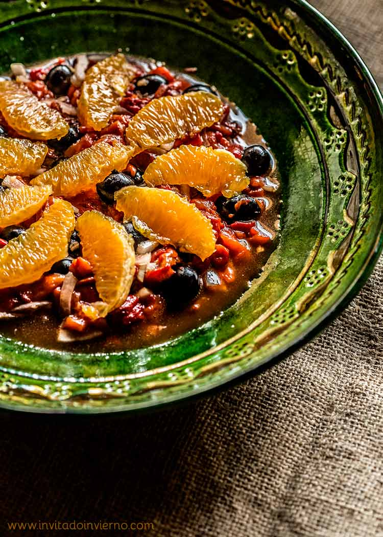 ensalada de pimientos naranja