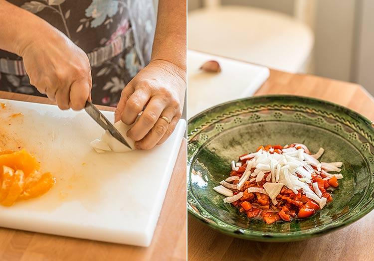 ensalada de pimiento naranja
