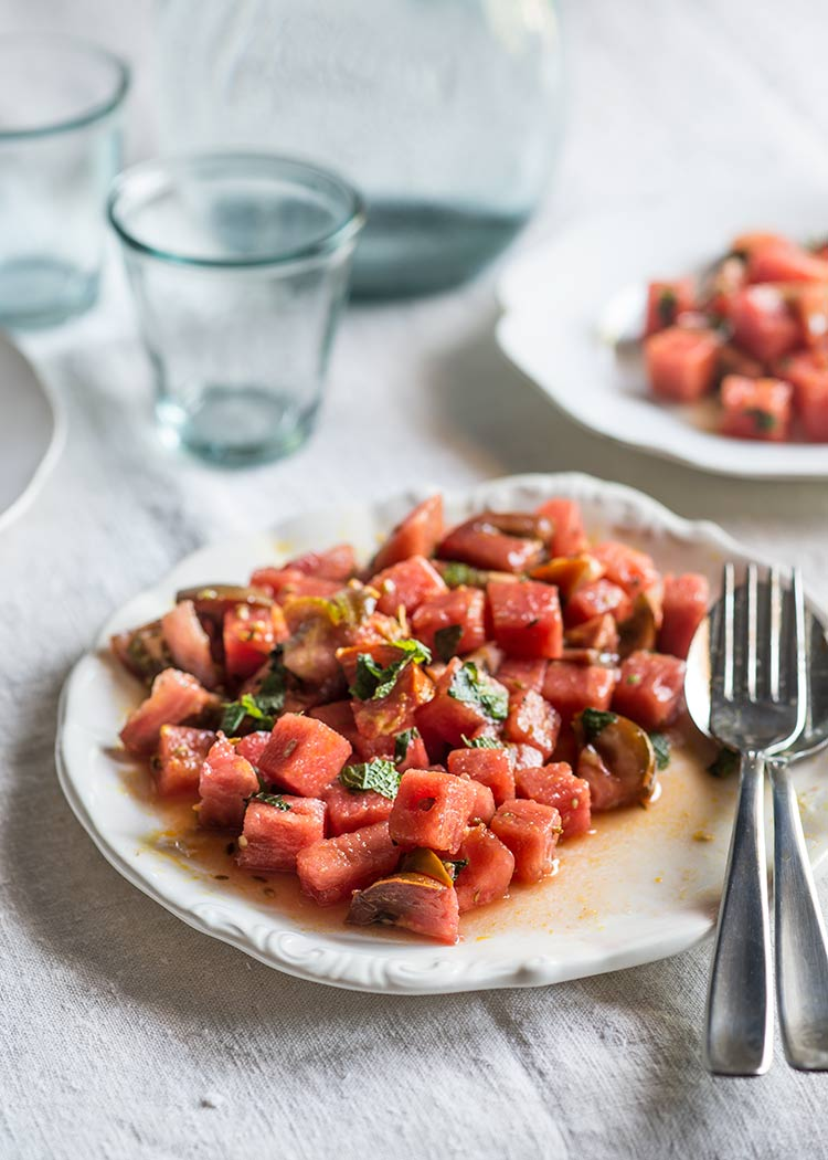 ensalada sandia tomate