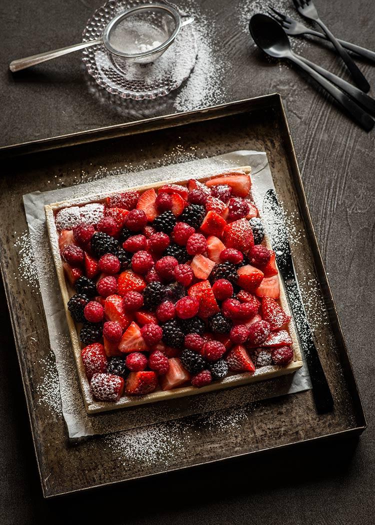 tarta crema fruta