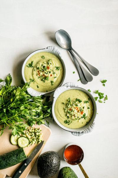 receta sopa fria aguacate pepino
