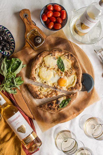receta pizza blanca queso gallego