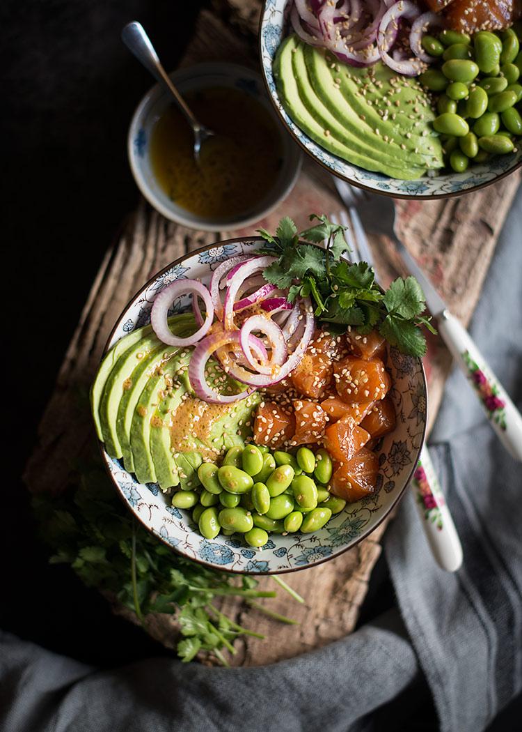 receta poke bowl salmon