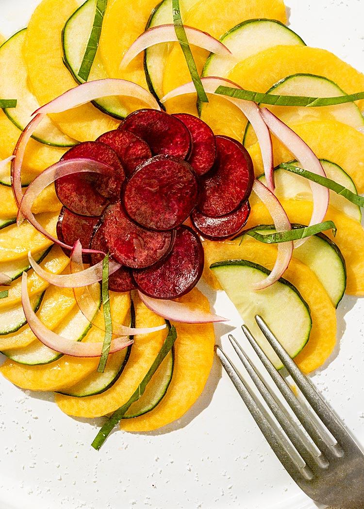 receta carpaccio melocoton pepino